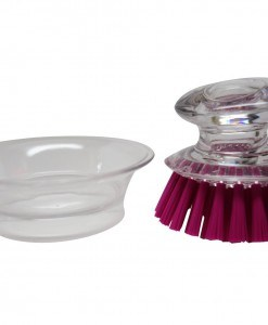 Mini Brush Scrubber with Holder Clear Handle